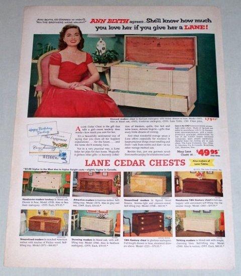 1953 Lane Cedar Chest Model 2853 Color Print Ad Celebrity Ann Blyth