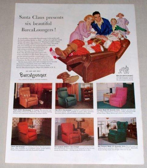 1953 Barcalounger Recliner Furniture Color Christmas Vintage Print Ad
