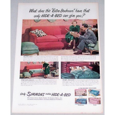 1948 Simmons Hide A Bed Sofa Color Print Ad - Extra Bedroom