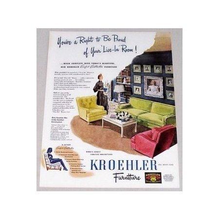 1945 Kroehler Comfort Furniture Color Print Ad