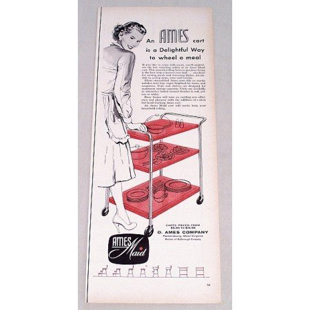 1956 Ames Maid Serving Cart Vintage Print Ad - Wheel A Meal