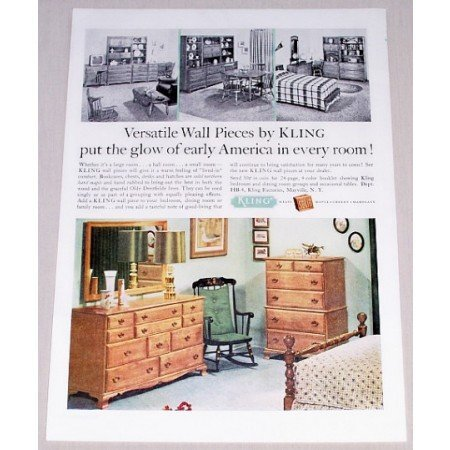 1962 Kling Wall Furniture Bookcases Chest Color Print Ad