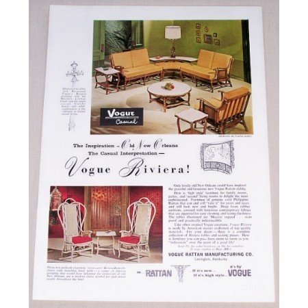 1962 Vogue Riviera Casual Furniture Color Print Ad