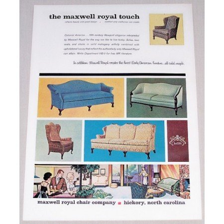 1962 Maxwell Royal Chair Company Color Print Ad