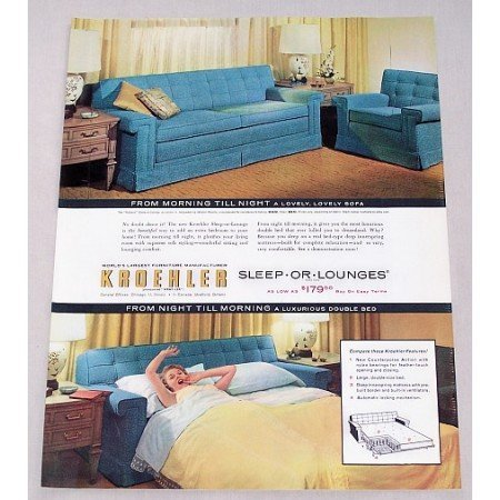 1956 Kroehler Sleep-Or-Lounges Couch Sleeper Color Print Ad
