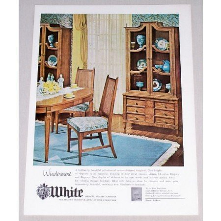 1962 White Windermere Dining Room Furniture Color Print Ad
