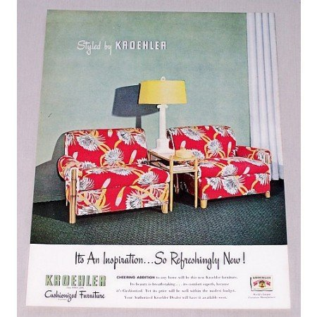 1946 Kroehler Cushionized Furniture Color Print Ad