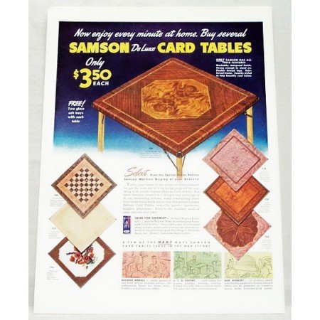 1942 Samson Deluxe Card Tables Color Ad