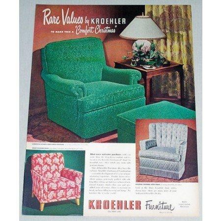 1948 Kroehler Lounge Chair Color Print Ad