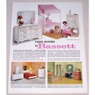 1961 Teen-Rooms by Bassett Bedroom Furniture Color Print Ad