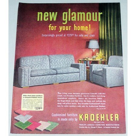 1951 Kroehler Pillow Back Sofa and Chair Color Print Ad