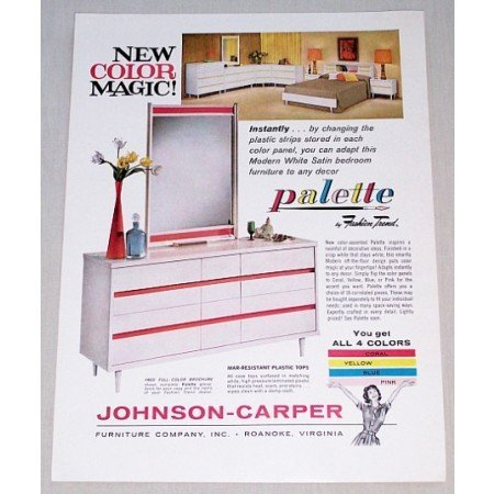 1962 Palette by Fashion Trend Bedroom Furniture Color Print Ad
