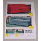 1949 Simmons Hide-A-Bed Sofa Color Print Ad