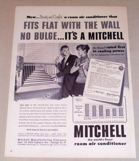 1954 Mitchell Room Air Conditioner Vintage Print Ad