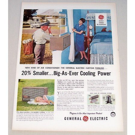 1956 General Electric Thinline Air Conditioner Color Print Ad