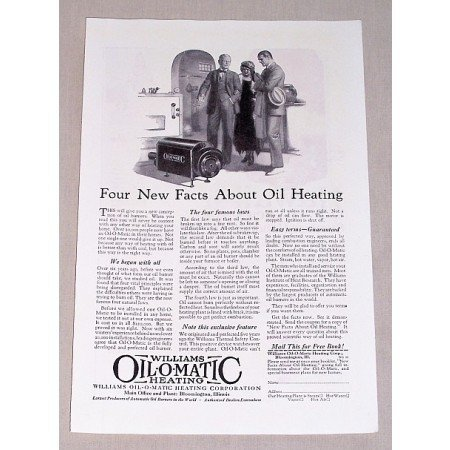 1925 Williams Oil-O-Matic Heating Vintage Print Ad - Four New Facts