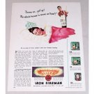 1947 Iron Fireman Automatic Heating Color Print Ad