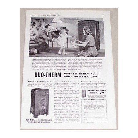 1941 Duo-Therm Fuel-Oil Heater Vintage Print Ad