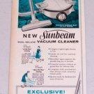 1960 Sunbeam Dual Deluxe Vacuum Cleaner Vintage Print Ad