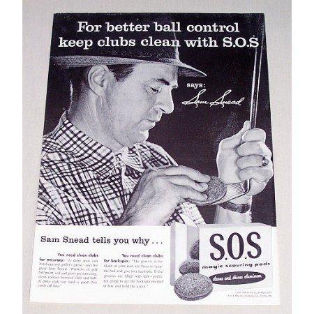 1956 SOS Scouring Pads Vintage Print Ad PGA Golf Celebrity Sam Snead
