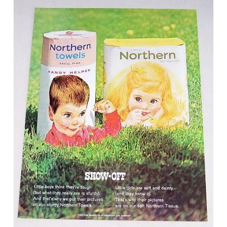 1963 Northern Towels Tissue Color Print Ad - Show-Off