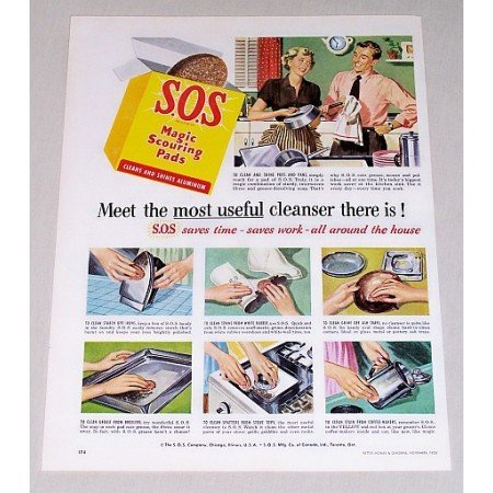 1950 SOS Magic Scouring Pads Color Print Ad - Most Useful