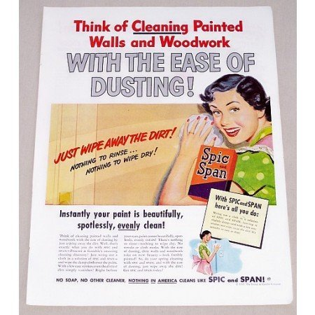 1949 Spic and Span Cleaner Vintage Color Print Ad - Think Of Cleaning