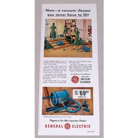1956 General Electric Roll-Easy Vacuum Cleaner Vintage Color Print Ad