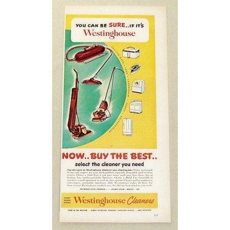 1949 Westinghouse Vacuum Cleaners Vintage Color Print Ad