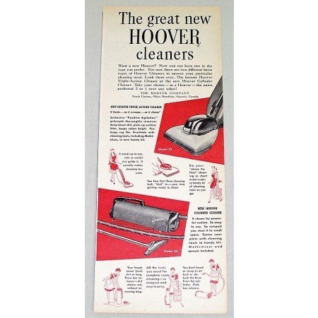 1948 Hoover Model 2B and 50 Vacuum Cleaners Vintage Color Print Ad