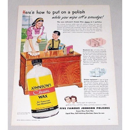 1946 Johnson's Furniture Cream Wax Vintage Color Print Ad