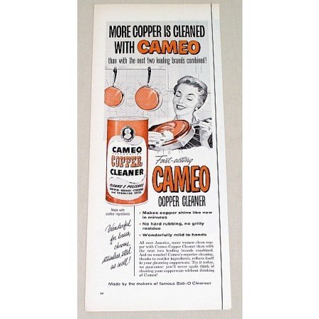 1958 Cameo Copper Cleaner Color Print Ad - Fast Acting