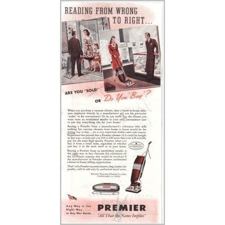 1945 Premier Upright Vacuum Cleaner Color Print Ad