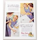 1942 Bon Ami Powder Color Print Ad - In The Kitchen
