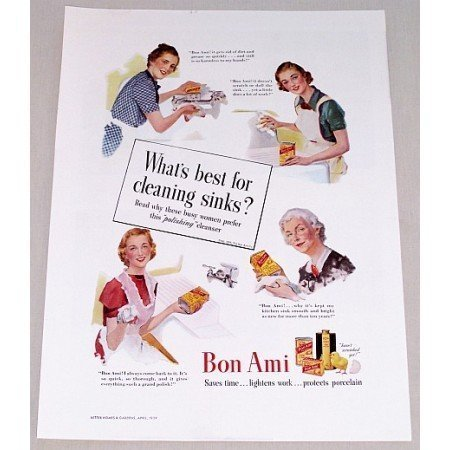 1939 Bon Ami Powder Color Print Ad - Best For Cleaning Sinks