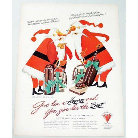 1948 Hoover Vacuum Cleaners Color Christmas Print Art Ad