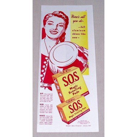 1941 S.O.S Scouring Pads Color Print Art Ad - Here's All You Do