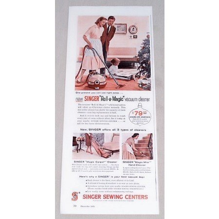 1956 Singer Roll-A-Magic Vacuum Cleaner Color Print Ad