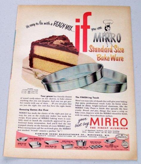 1953 Mirro Layer Cake Pans Bakeware Vintage Color Print Ad