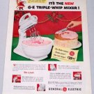 1952 GE General Electric Triple Whip Electric Mixer Vintage Small Appliance Color Print Ad
