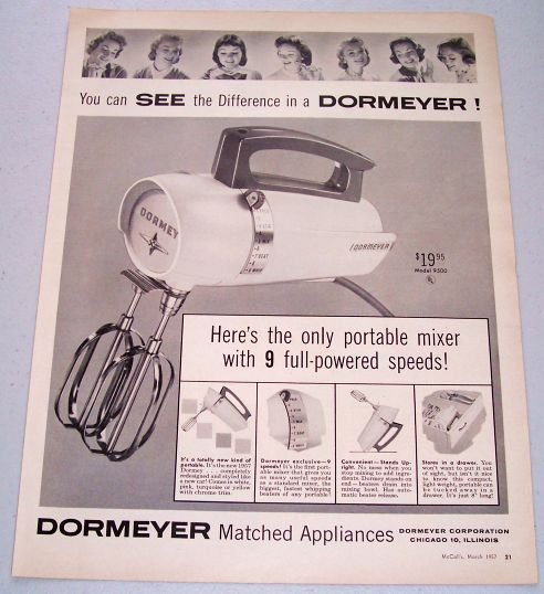 1957 Dormeyer Model 9500 Electric Mixer Vintage Print Ad