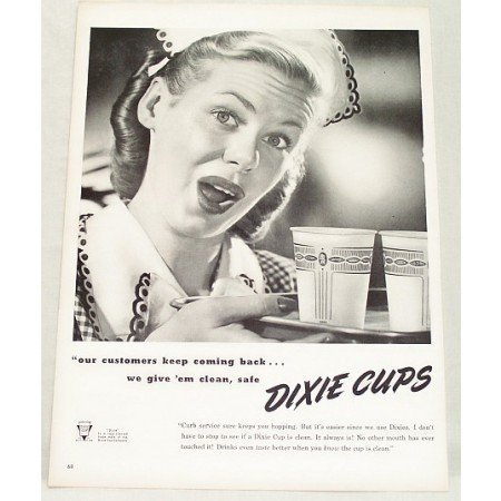 1948 Dixie Cups Vintage Print Ad Customers Keep Coming Back