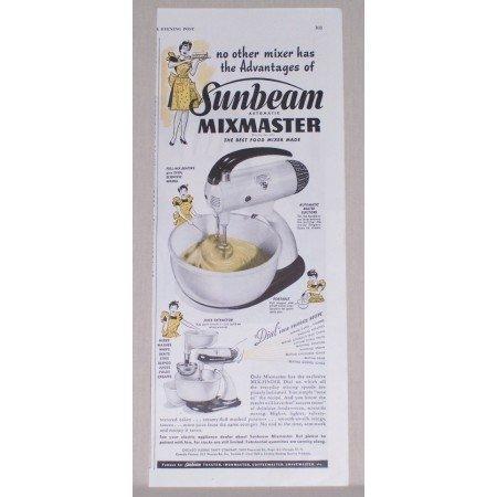 1945 Sunbeam Mixmaster Food Mixer Color Ad