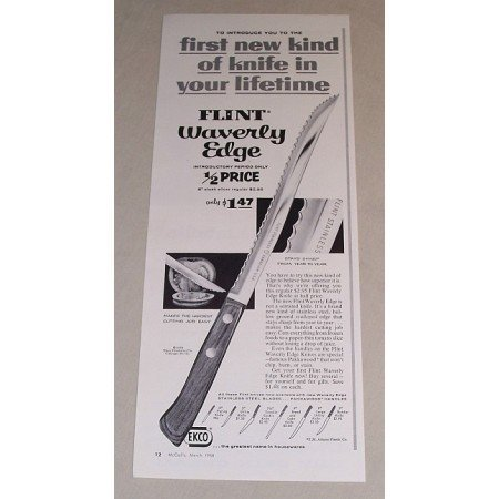 1958 Ekco Flint Waverly Edge Knife Vintage Print Ad