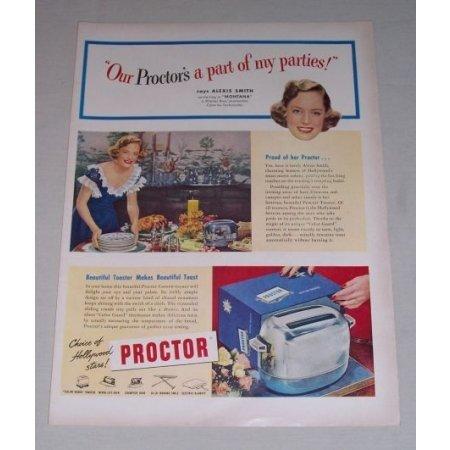 1949 Proctor Custom Toaster Color Print Ad Celebrity Alexis Smith