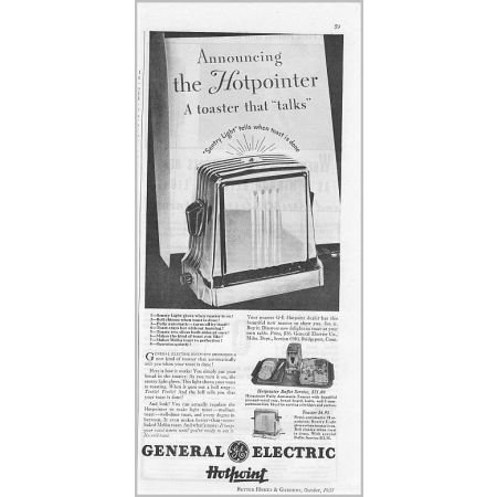 1935 General Electric Hotpoint Automatic Toaster Vintage Print Ad