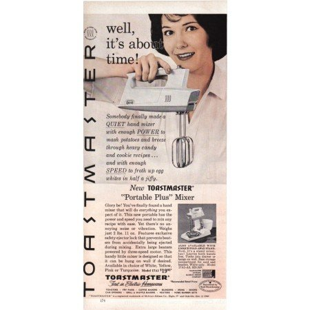 1960 Toastmaster Portable Plus Mixer Color Print Ad