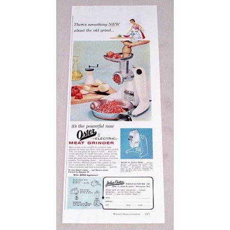 1956 Oster Electric Meat Grinder Color Print Ad