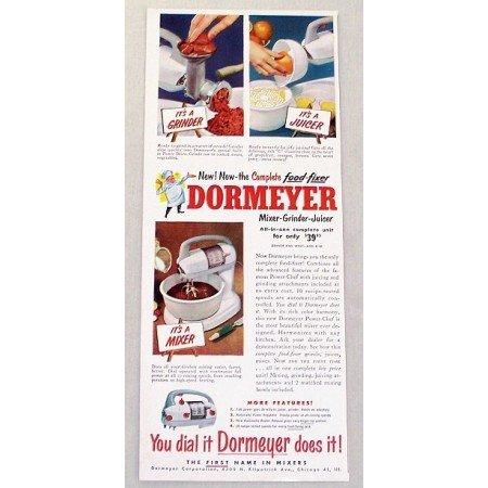 1952 Dormeyer Mixer Grinder Juicer Color Print Ad