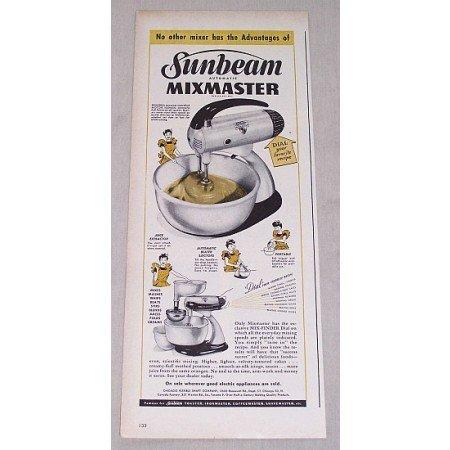 1946 Sunbeam Mixmaster Automatic Mixer Color Print Ad